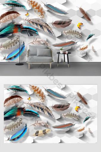 الحديثة وبسيطة 3d ستيريو لون الريش التلفزيون خلفية الجدار الديكور والنموذج قالب PSD