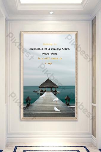 Nordic style wooden bridge sea view entrance decorative painting Decors & 3D Models Template PSD
