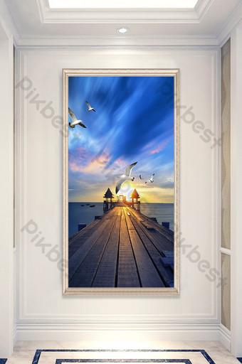 Night view sea wooden bridge seagull landscape painting entrance custom Decors & 3D Models Template PSD