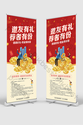 red fashion invites friends with cash waiting for you to take the event financial roll up standee Template PSD