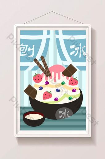 ilustración de cartel de tienda de hielo raspado gourmet de verano Ilustración Modelo PSD