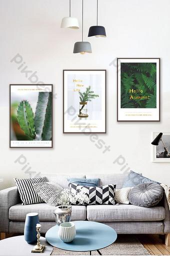 الشمال بسيطة خضراء صغيرة النباتات الطازجة سمين غرفة المعيشة الديكور اللوحة فرملس الديكور والنموذج قالب PSD