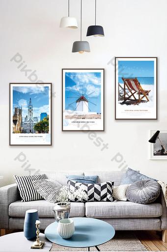 Blue Mediterranean summer beach sea architecture landscape decorative painting Decors & 3D Models Template PSD