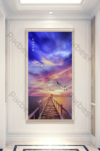 Customized sea view entrance of a sand gull wooden bridge in the dusk world Decors & 3D Models Template PSD