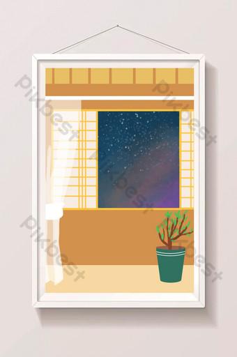 الكرتون اليد مرسومة ليلة نافذة الضيف الجانب قاعة أريكة الخلفية الرسم التوضيحي قالب PSD