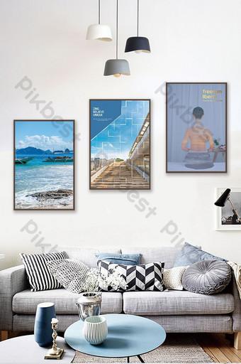 Modern fashion anti-chromatic aberration summer landscape blue sea architectural decoration painting Decors & 3D Models Template PSD