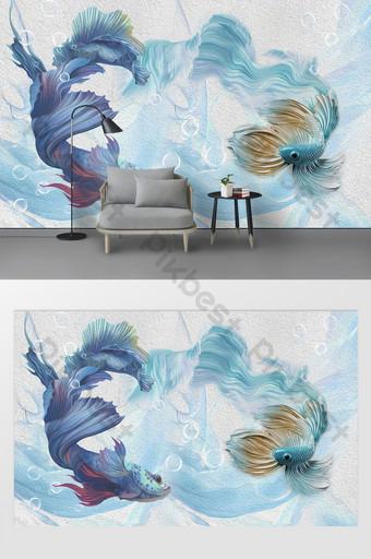 lukisan minyak modern 3d stereo abstrak cyan biru merak pertempuran latar belakang ikan Dekorasi dan model Templat PSD