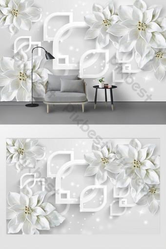 أبيض حديث بسيط ثلاثي الأبعاد خلفية الجدار زهرة الديكور والنموذج قالب PSD