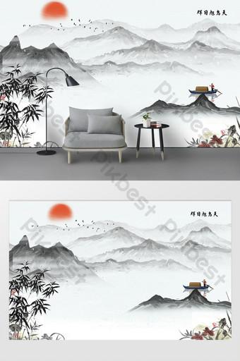 جدار خلفية رخامية مع مناظر طبيعية رائعة وشلال الديكور والنموذج قالب PSD