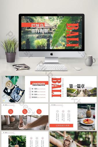 template ppt wisata bali gaya majalah kecil segar PowerPoint Templat PPTX