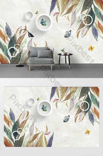 Personalización de la pared del fondo de tv floral simple moderno y hermoso Decoración y modelo Modelo PSD
