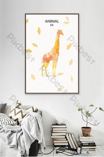 nórdico simple bosque alce silueta pintura decorativa hermoso colgante Decoración y modelo Modelo PSD