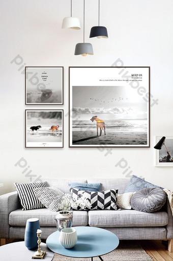Peinture décorative de paysage de bord de mer à la mode et simple anti aberration chromatique pour animaux de compagnie Décoration et modèle Modèle PSD