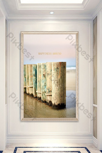 Modern minimalist nordic style sea view wooden bridge entrance decorative painting Decors & 3D Models Template PSD