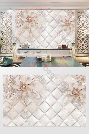 粉色浪漫鑽石飾品花朵軟包背景牆 裝飾·模型 模板 PSD