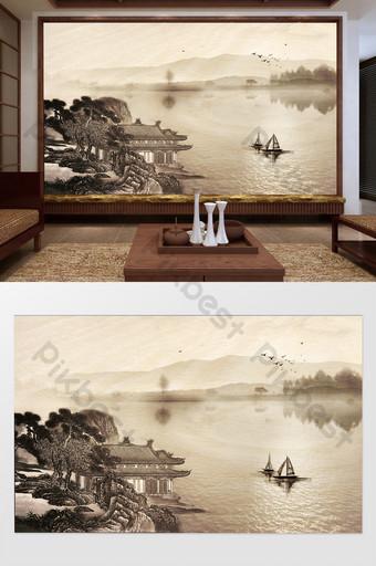nuevo bote pequeño poético chino lago corazón montaña lejana reflexión casa fondo decoración de la pared Decoración y modelo Modelo PSD