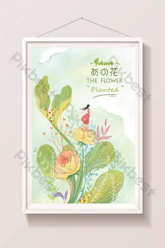 نبات أخضر ، زهرة صغيرة ، رسوم متحركة جميلة مرسومة باليد التوضيح الرسم التوضيحي قالب PSD