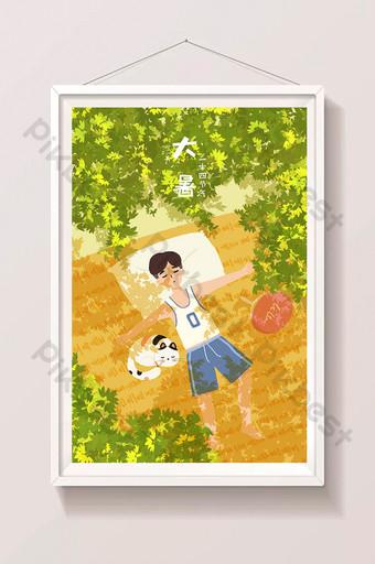 夏季太陽術語熱午睡貓字符享受涼爽的插圖 插畫 模板 PSD
