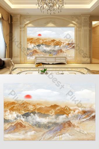 新中式風格山水大理石紋理電視背景牆 裝飾·模型 模板 PSD