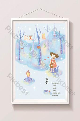 bosque pequeño árbol niña hermosa dibujos animados dibujados a mano ilustración Ilustración Modelo PSD