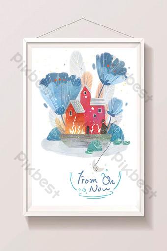 منزل أزرق نبات صغير رسوم متحركة جميلة مرسومة باليد التوضيح الرسم التوضيحي قالب PSD