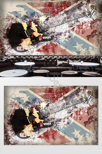 retro graffiti rock guitarra cool hotel ktv herramientas fondo pared Decoración y modelo Modelo PSD