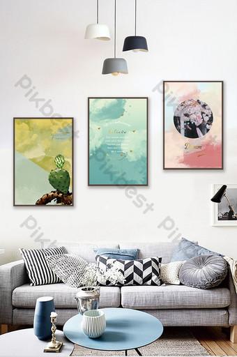 Tableau décoratif triptyque de fleurs de plantes succulentes fraîches nordiques Décoration et modèle Modèle PSD