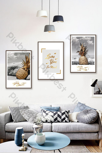 Contrast color difference golden seaside landscape pineapple decorative painting Decors & 3D Models Template PSD