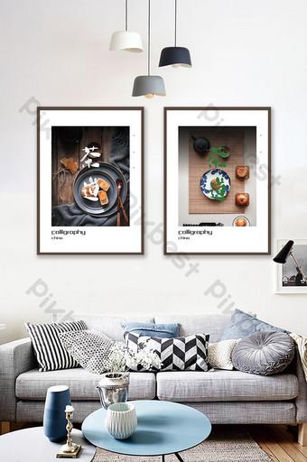 الصينية واليابانية فن الخط حفل الشاي فندق غرفة المعيشة مزدوجة اللوحة الديكور الديكور والنموذج قالب PSD