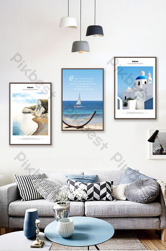Mediterranean small fresh blue seaside architectural landscape decoration painting Decors & 3D Models Template PSD
