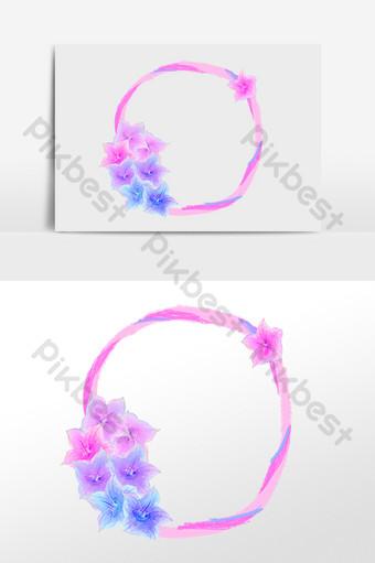 elemento de ilustración de borde redondo flor floral púrpura Elementos graficos Modelo PSD
