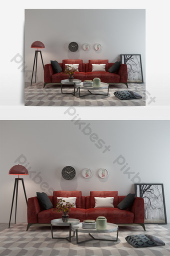 nordic simple multi-seat sofa and coffeeee table combination Decors & 3D Models Template MAX