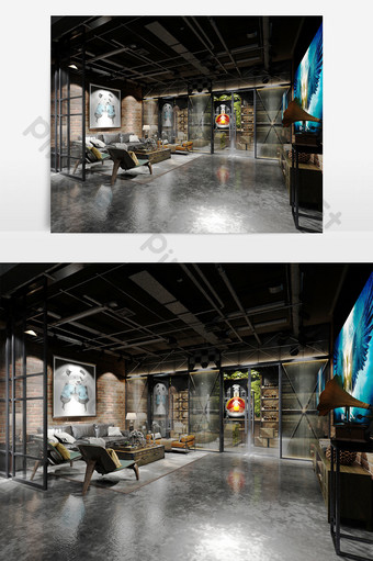 غرفة المعيشة النمط الصناعي تصميم الاداءات نموذج ماكس الديكور والنموذج قالب MAX