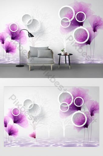 mode modern sederhana melamun bunga ungu latar belakang lingkaran stereo 3d Dekorasi dan model Templat PSD