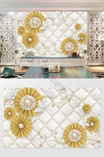 زهرة ذهبية حديثة حزمة التلفزيون جدار لينة الديكور والنموذج قالب PSD