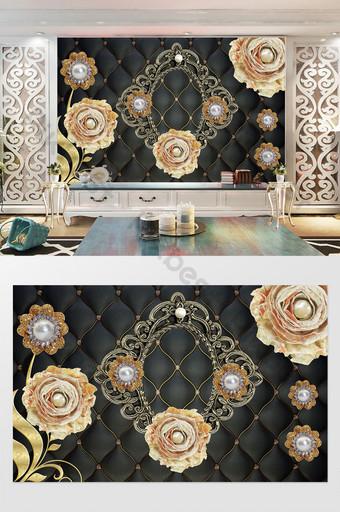 3d高端風格珍珠黑色軟包背景牆 裝飾·模型 模板 PSD