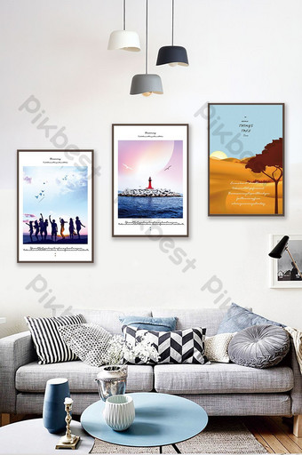 Southeast Asia Natural Landscape Green Summer Seaside Scenery Decorative Painting Decors & 3D Models Template PSD