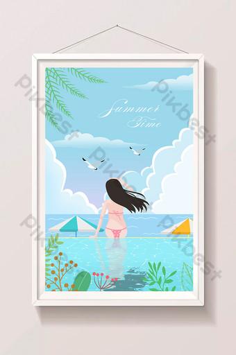 Beautiful and fresh summer girl bikini seaside vacation landscape illustration Illustration Template PSD