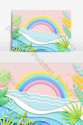 Tropical plants, sea waves, rainbow, paper-cut style decoration PNG Images Template PSD