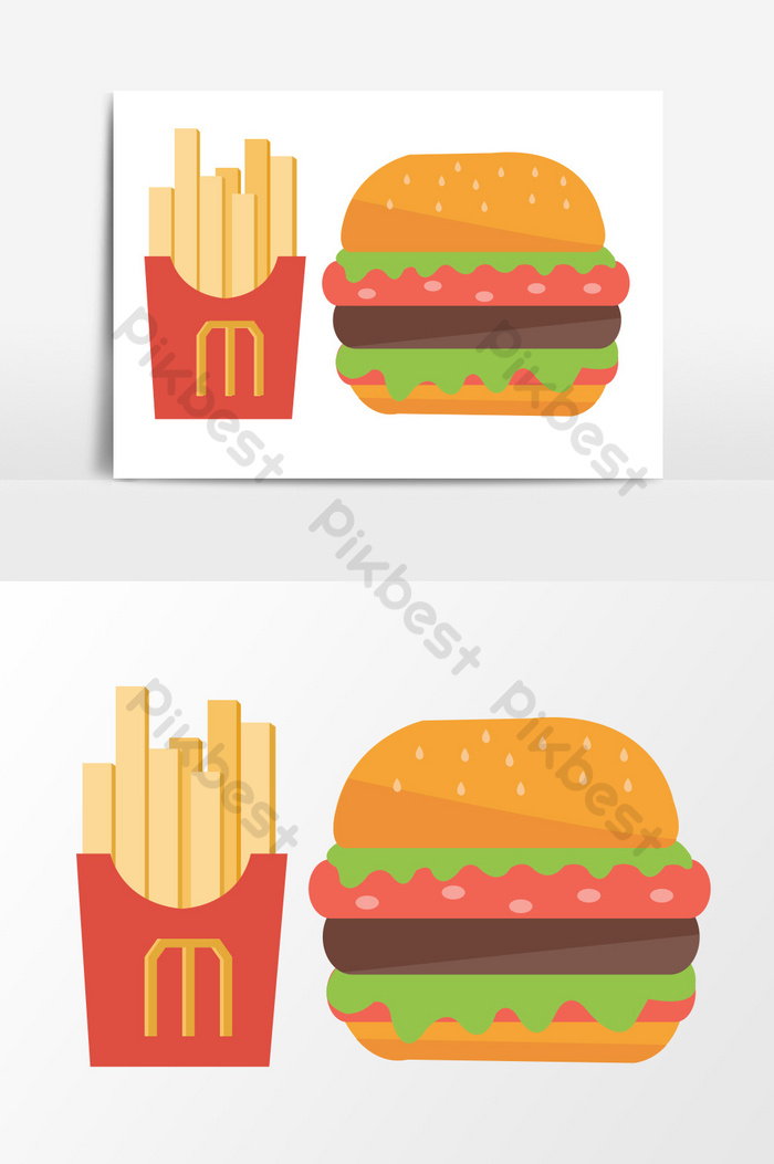 Hamburger Fries Mcdonald S Gourmet Vector Flat Cartoon Graphic