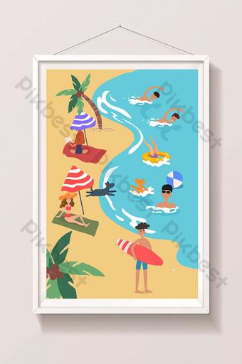 الصيف عطلة الصيف الكبيرة السفر شاطئ البحر السباحة تصفح التوضيح الرسم التوضيحي قالب AI