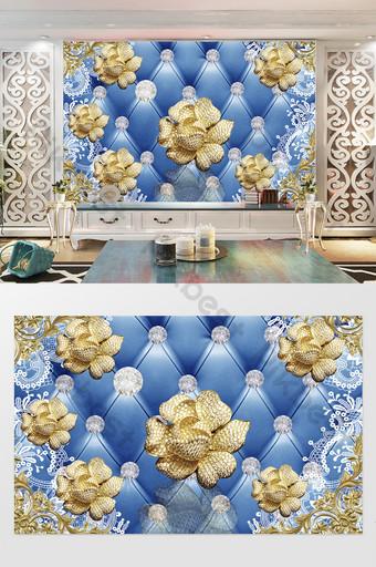 الأزرق الفاخرة 3d زهرة ذهبية المجوهرات التلفزيون خلفية الجدار الديكور والنموذج قالب PSD