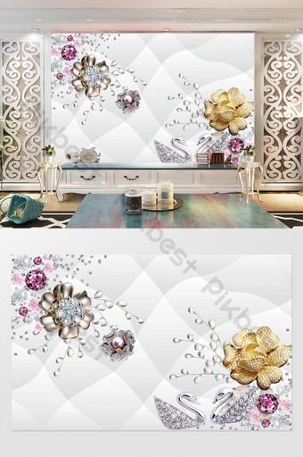 珠寶花鑽石軟包背景牆定制 裝飾·模型 模板 PSD