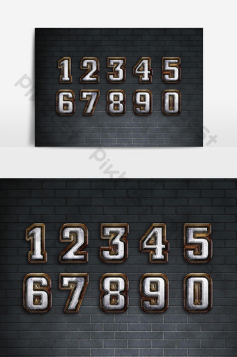 1234567890 المواد الرقمية الخط الذهبي عناصر الرسوم
