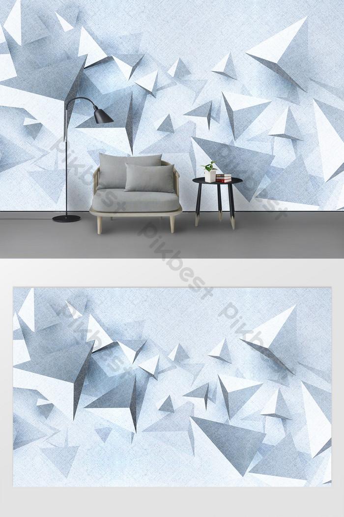 bắc Âu hiện đại tối giản 3d bản đồ hình học tam giác ba chiều tường nền tv
