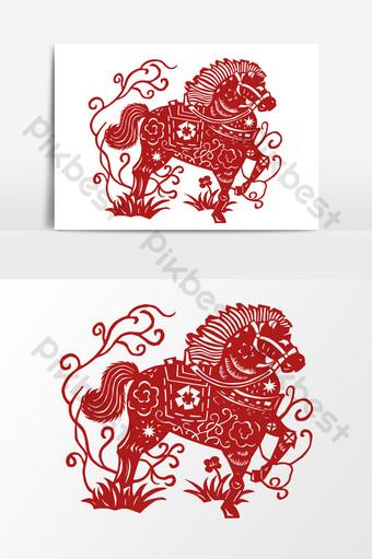 بسيطة الصينية التقليدية ورقة قطع الورق الأحمر شبكات تشغيل عناصر ناقلات الحصان صور PNG قالب AI