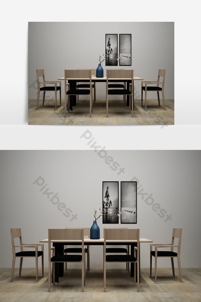 Mesa de comedor minimalista moderna modelo 3D combinado | Decoración ...