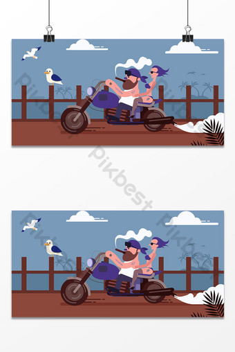 fondo de cartel de motocicleta de viaje junto al mar dibujado a mano Fondos Modelo AI