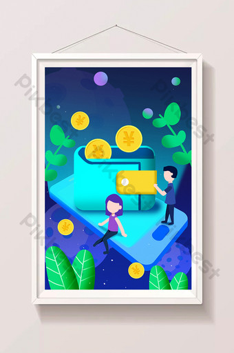 Cartoon financial mobile wallet business securities fund loan wealth management illustration Illustration Template PSD