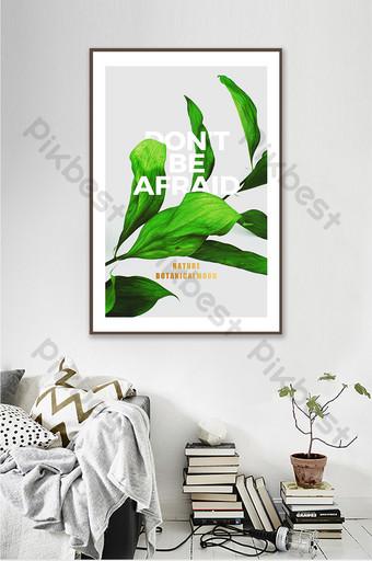 الشمال الصغيرة الطازجة الحديثة النباتات الخضراء زخرفة غرفة المعيشة اللوحة الديكور والنموذج قالب PSD